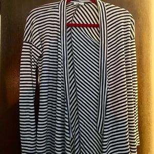 Susina Indigo/Navy and White striped cardigan NWT!